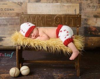 Newborn Baseball Short Pants and Cap Sports Crochet Photo Prop Set