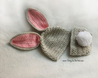 Bunny Hat and Diaper Cover Set Grey Pink and White Stand Up Ears Crochet Newborn