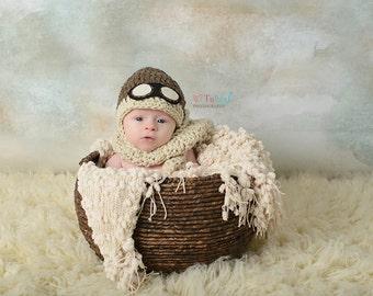 Newborn Aviator Goggles Hat and Scarf Set Photo Prop