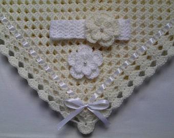 Crochet Baby Blanket Afghan and Baby Headband Set Christening Baptism Gift Girl Ivory White Flower
