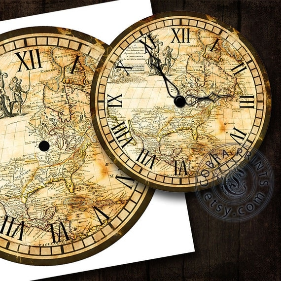 Antique Map Diy Large Clock Face 12 Digital Sheet By