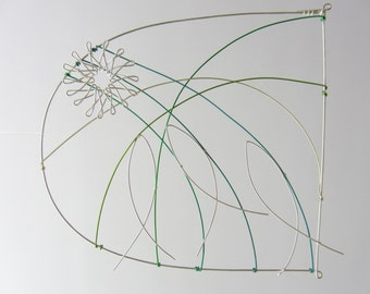 Wire drawing - Leaping Salmon - Wall Hanging