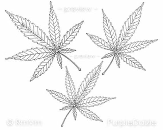 Items similar to adult coloring page printable color sheet for Weed leaf template
