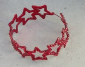 Heart and Star Rhinestone Hoop Earrings in Silver and Red