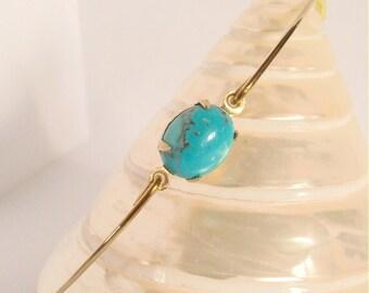 Bracelet jonc doré et turquoise