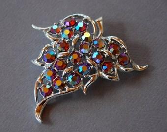 ON SALE 20% off - Vintage Sarah Coventry Brooch Aurora Borealis Rhinestones Silver Tone Leaf Convertible Pendant 1960's // Vintage Jewelry