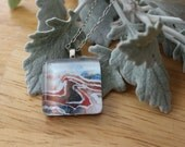 "Glass Tile Pendant - Print of Gouache Painting ""We Will Fold and Freeze Together"""