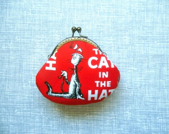 SHOP CLOSING SALE  Cat in the Hat in Red handmade coin purse with kiss clasp frame - Birthday Gift, Stocking Stuffer, Holiday Gift