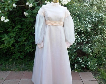 70's Emma Domb Romantic Renaissance Style Gown Vintage Peach Chiffon Prom Dress Attached Crinoline Beautiful  Detailing Wedding Party?