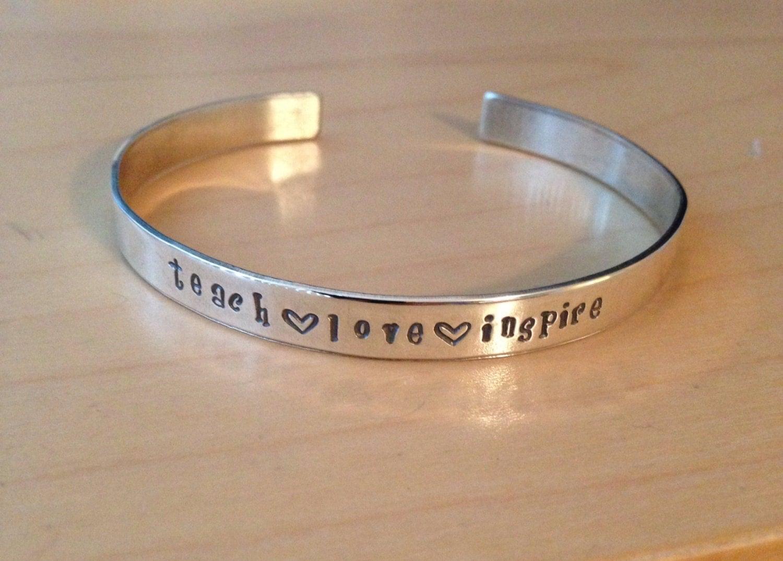 Teacher Appreciation Sterling Silver Hand Stamped Cuff Bracelet
