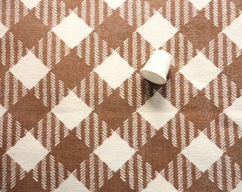brown and cream plaid print vintage cotton fabric -- 45 wide by 2 3/4 yards
