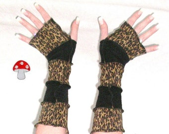 DEPOSIT Special Order Arm Warmers Wild Thing Fingerless Gloves Meow Hiss! Reeer Leopard Black Sweater Warmies Sleeves Kittens Mittens