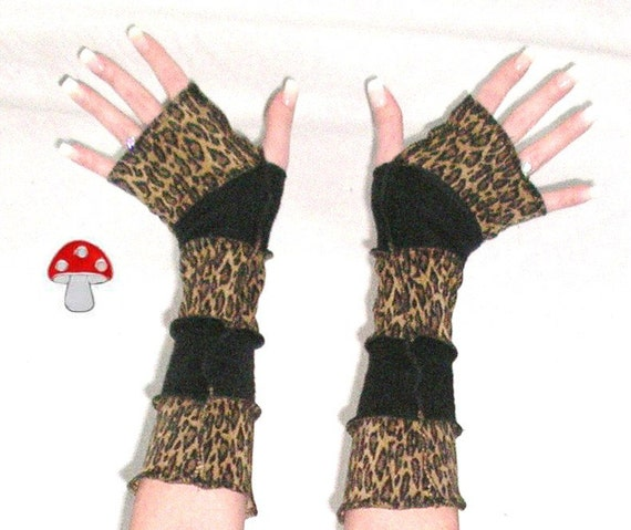 Arm Warmers Wild Thing Fingerless Gloves Meow Hiss! Reeer Leopard Black Sweater Warmies Patchwork Animal Print Sleeves Kittens Mittens