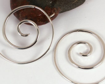 Thicker Spiral Hoop Earrings, Made to Order, Sterling Silver