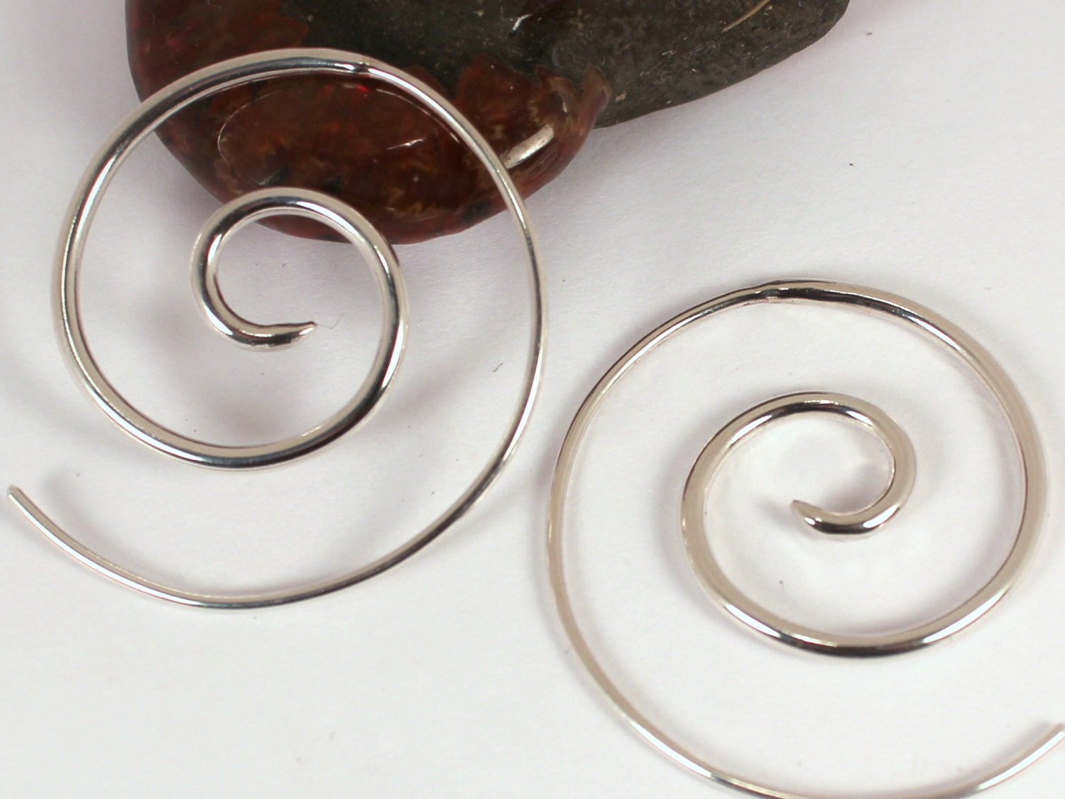 thicker spiral hoop earrings made to order sterling silver