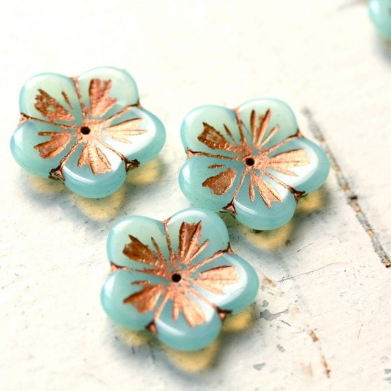 Milky Aqua Flower Beads
