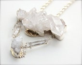 Raw Crystal Necklace In Silver and 14k Gold