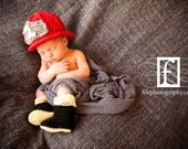 Crochet Baby Firefighter Helmet and Boots