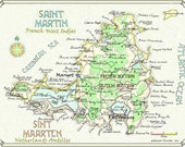 Saint Martin, WI - in Two Sizes - print from original hand-lettered drawing in ink and watercolor by Howard Handlen.  Signed in pencil.