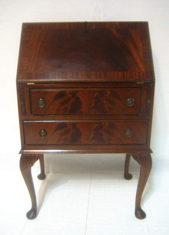 Antique Flame Mahogany Drop Front Ladies Writing Desk