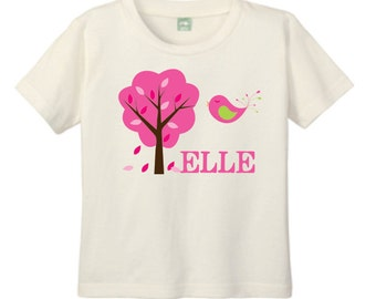 Natural T Shirt, Personalized Gardening T-shirt for Toddlers and Children with Pink Tree and Bird Customized with Name