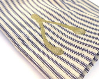 Cloth Napkins - Gold Wishbone Screen Printed Blue French Ticking Napkins Thanksgiving - Set of 4- SALE - Free Shipping