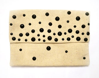 Hand Beaded Clutch- Natural Cotton with Black Beads