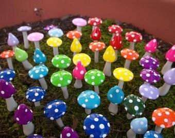 10 miniature craft supply Fairy garden miniatures mushrooms party favors wedding favor tea party girls mad hatter handmade  party craft