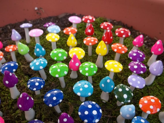 10 planter stakes craft supply Fairy garden miniatures mushrooms party favors wedding favor tea party girls mad hatter handmade  party craft
