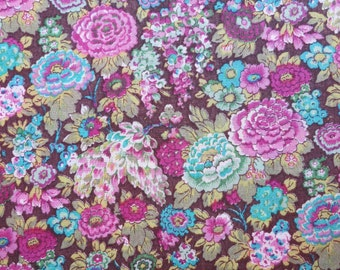 LIBERTY Of LONDON Tana Lawn Cotton Fabric  'Elysian' Chocolate/Teal/Magenta Floral Lg Fat Eighth 10 X 26 in