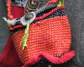 Purse, Crocheted, Red, Orange, Black and Green Purse