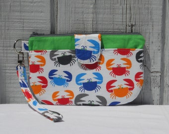 SALE- Clutch Wristlet with Front Pocket, Crabs, One of a Kind