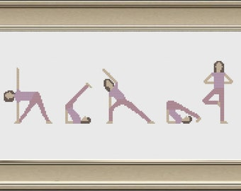 Yoga Cross Stitch Pattern, PDF, DMC Threads