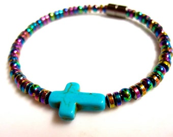 Magnetic Hematite Bracelet - Rainbow Sideways Cross Bracelet, Anklet, Necklace, or Pet Collar