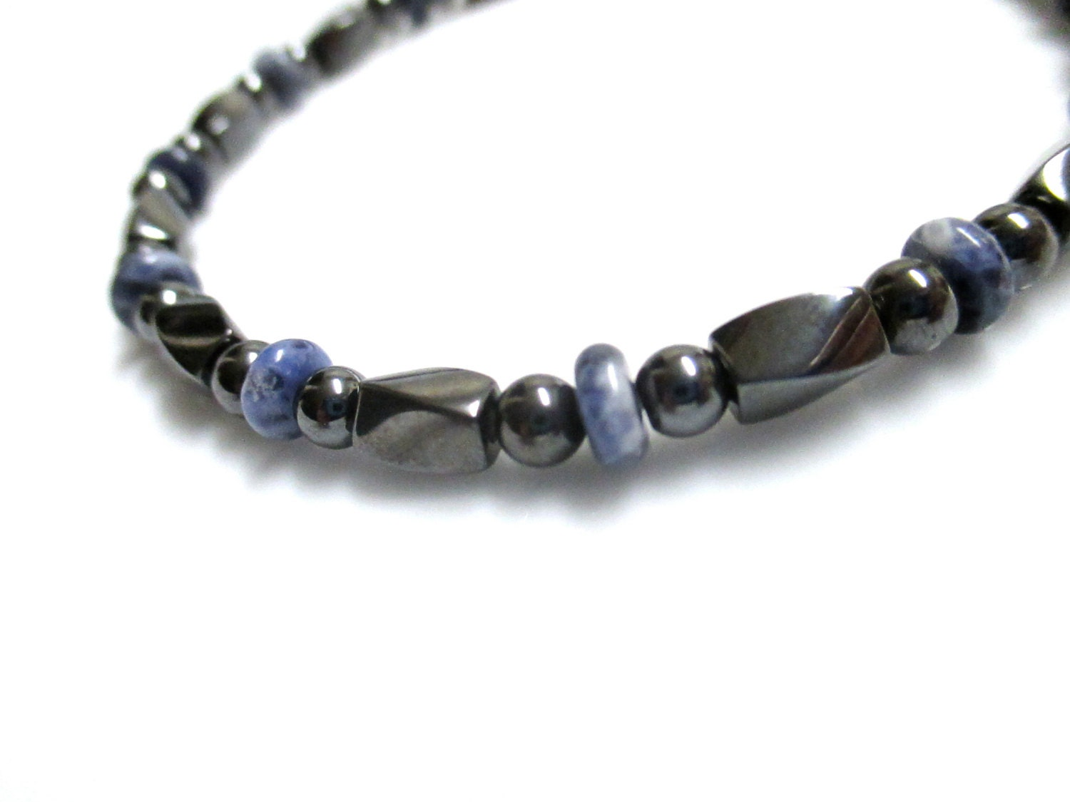 magnetic hematite bracelet with sodalite magnetic jewelry