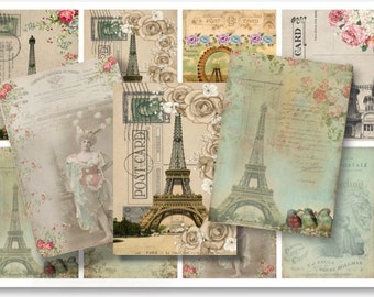 Digital Images - Digital Collage Sheet Download - Vintage Paris Tags -  698  - Digital Paper - Instant Download Printables