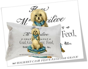 Digital Collage Sheet Download - Dog French Typography Image Transfer -  726  - Digital Paper - Instant Download Printables