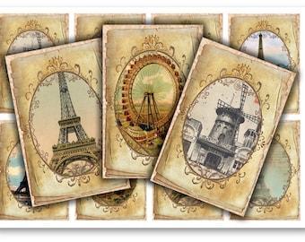 Digital Collage Sheet Download - Vintage Paris Tags -  915  - Digital Paper - Instant Download Printables