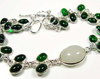 VALENTINES GIFT.... EMERALD  Dioside Quartz and Agate Silver 925  Bracelet