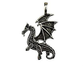 Celtic Dragon Pendant - Pewter, Celtic knot, Dragon jewelry, Mythological creature, Guardian spirit, Dragon amulet