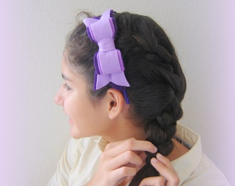 Girls hairband, Purple headband, violet Handmade hairband, Purple Bow hairband, Accessories Girl hairband,  bow accessory, Felted hairband.