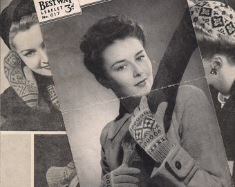 Original and Rare 1940s Knitting Pattern - Bestway - Ladies Fair Isle  - Gloves  - 1940s NOT A COPY.