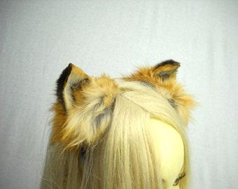 Red Fox Ears Headband Real Taxidermy Kitsune Anime Costume Cosplay Kawaii Animal Nekomimi Inumimi Cat Dog Costume RFHB1