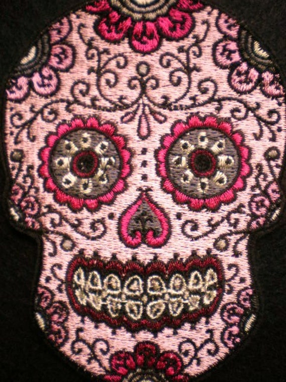 Embroidered Sugar Skull Applique Iron On Patch Pink Sugar