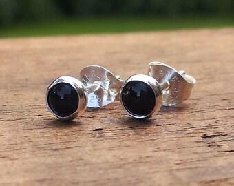 4mm Black Onyx Gemstone Stud Post Earrings Fine Sterling Silver Shiny Finish - Little Bits of Color