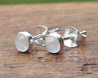 4mm Moonstone Gemstone Stud Post Earrings Fine Sterling Silver Shiny - Little Bits of Color