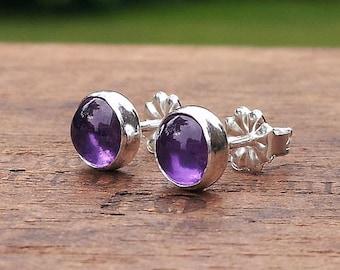 6mm Amethyst Gemstone Stud Earrings Fine Sterling Silver Shiny - Little Bits of Color