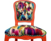 Items Similar To Upholstered French Side Chair Colorful