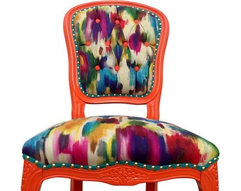 Upholstered French Side Chair Colorful Designer Fabric Painted Chair Modern Shabby Chic Eclectic