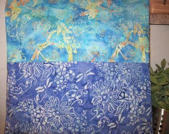 "14"" x 14"" PILLOW COVER - Morning  Birds on Aqua Blue Skies above Floral Fields Nature Fine Cotton Batiks"